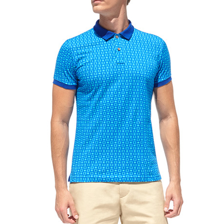 Smart-Fit Polo Shirt + Hollow Boxes Print // Royal Blue (S)