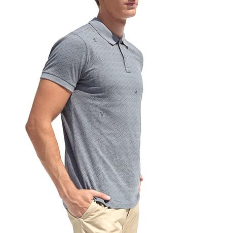 Polo Shirt + Logo Print And Piece-Dye // Gray (S)