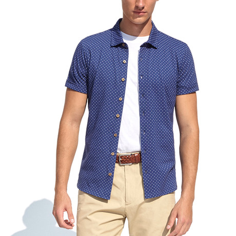 Polo Style Piquet Shirt + Polka Dots // Navy Blue (XL)