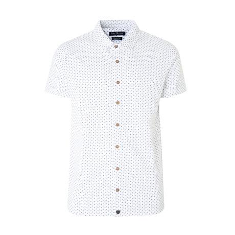 Polo Style Piquet Shirt + Polka Dots // White (S)