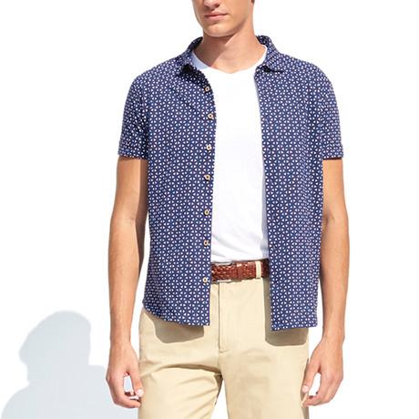 Polo Style Piquet Shirt + Geometric Print // Navy Blue (S)