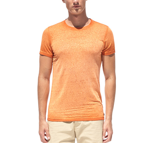 Linen T-Shirt + Oil-Dye And Embroidery On Print // Orange (S)