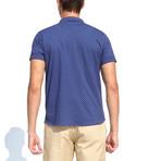 Polo Style Piquet Shirt + Polka Dots // Navy Blue (XL)