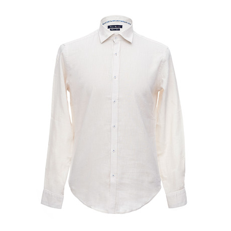 Italian Cut Linen Shirt + Contrast Details // Beige (S)