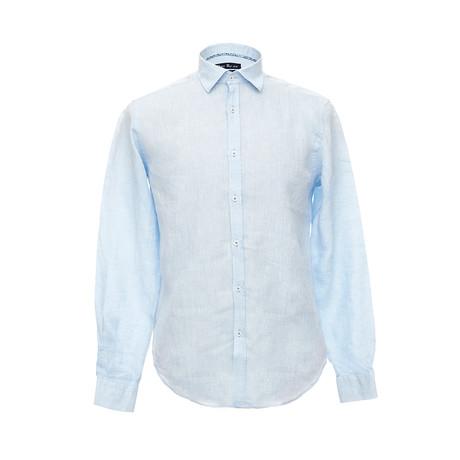 Italian Cut Linen Shirt + Contrast Details // Light Blue (S)