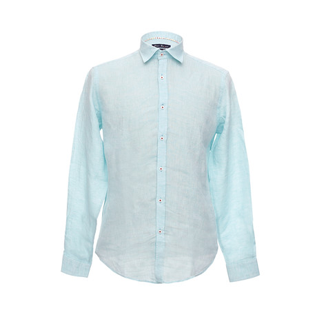 Italian Cut Linen Shirt + Contrast Details // Turquoise (S)