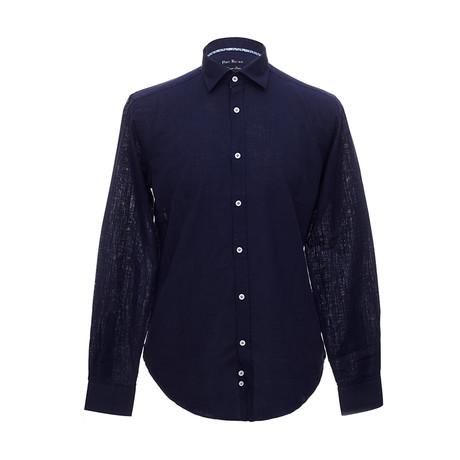 Italian Cut Linen Shirt + Contrast Details // Navy Blue (S)
