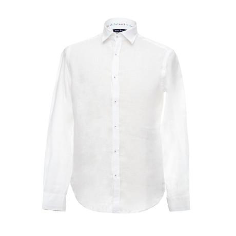 Italian Cut Linen Shirt + Contrast Details // White (S)