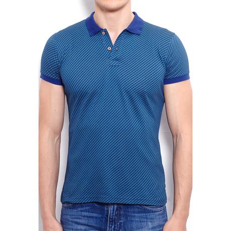 Polo Shirt + Geometric Alloverprint // Navy Blue (S)
