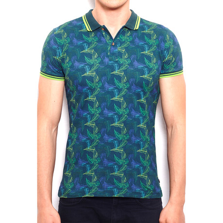 Polo Shirt + All Over Foliage Print // Petrol (S)