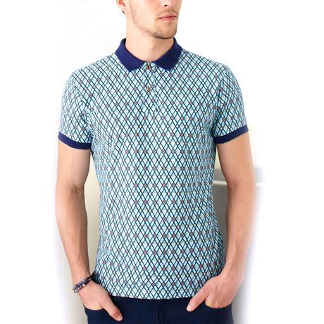 Polo Shirt + Diamond Line Print // Navy Blue (S)