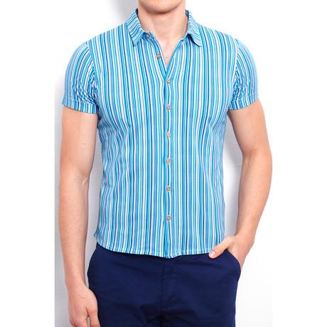 Shirt + Allover Linear Print // Navy Blue (S)