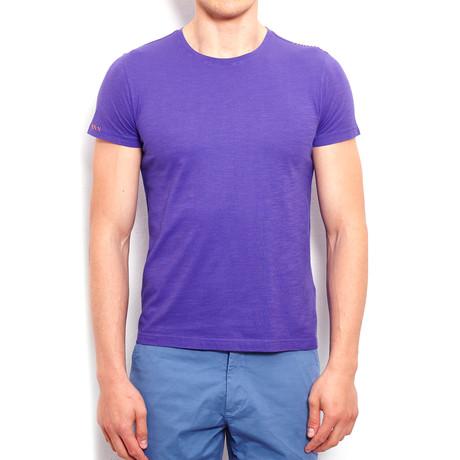 Piece-Dye T-Shirt + Handmade Embroidery // Purple (S)
