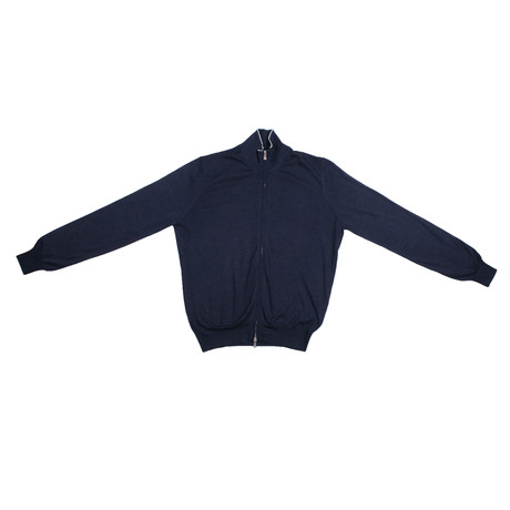 Giovanni Cashmere Zip Up Sweater // Navy (Euro: 48)