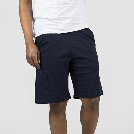 Side Zipper Lounge Short // Navy (S)
