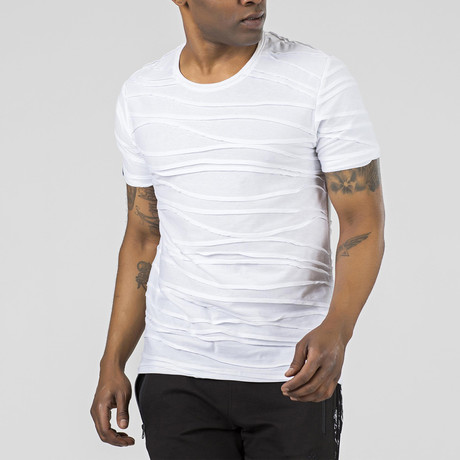 Wave Textured T-Shirt // White (S)