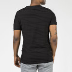 Wave Textured T-Shirt // Black (S)