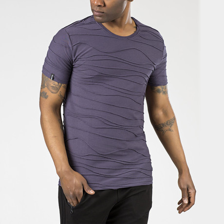 Wave Textured T-Shirt // Purple (S)