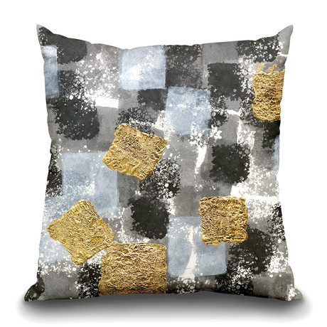 "Gold Squares II Throw Pillow (16"" x 16"")"