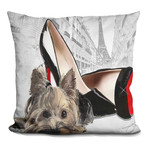 "Yorkie In Paris Throw Pillow (16"" x 16"")"