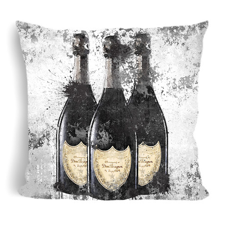 "Champagne Inky Throw Pillow (16"" x 16"")"