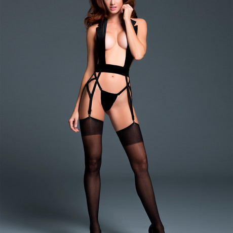 Leia Le Petite Smoking, Little Black Tuxedo + Garters (Small/Medium)