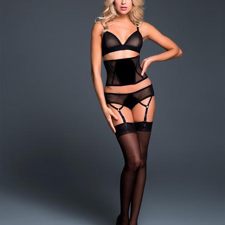 Chloe Sheer Desire Bralette, Cinture + Panty + Garters (Small)