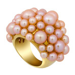 Mimi Milano 18k Yellow Gold Pink Cultured Pearl Ring // Ring Size: 6.75