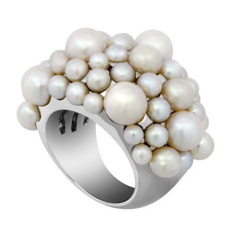 Mimi Milano 18k White Gold White Cultured Pearl Ring // Ring Size: 7.25