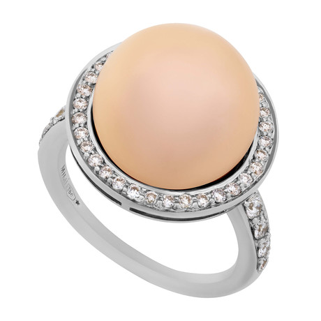Mimi Milano 18k White Gold Diamond + Pink Cultured Pearl Ring // Ring Size: 6.5