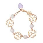 Mimi Milano 18k Rose Gold Violet Freshwater Pearls+ Amethyst Bracelet