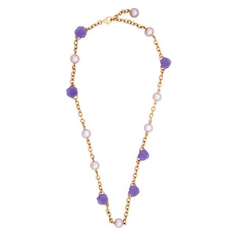 Mimi Milano 18k Rose Gold Lavender Jade + Violet Freshwater Pearls Necklace
