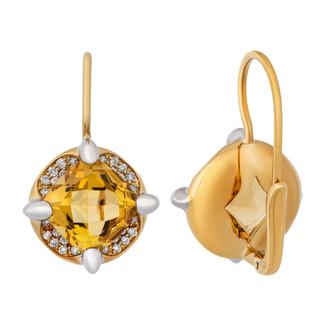 Mimi Milano 18k Two-Tone Gold Diamond + Citrine Earrings