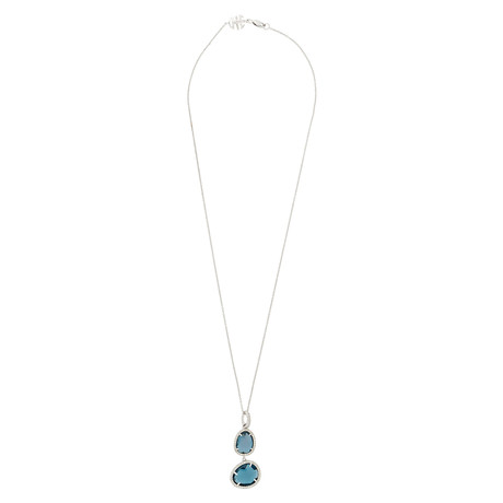 Mimi Milano 18k White Gold Diamond + London Blue Topaz Pendant Necklace II
