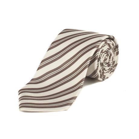 Silk Striped Tie // White