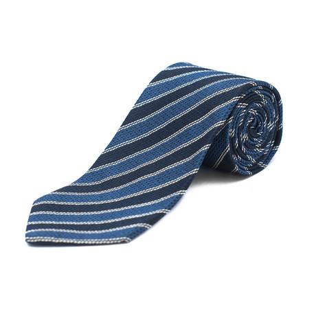 Silk Textured Striped Tie // Navy Blue