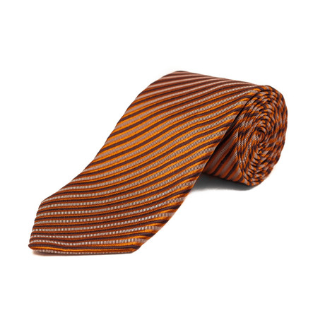 Silk Textured Striped Tie // Orange + Brown