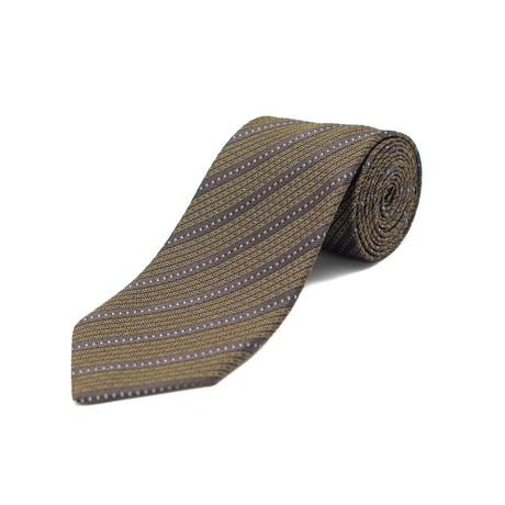 Ermenegildo Zegna // Silk Textured Striped Tie // Brown + Yellow