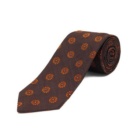 Ermenegildo Zegna // Silk Floral Pattern Tie // Brown + Orange