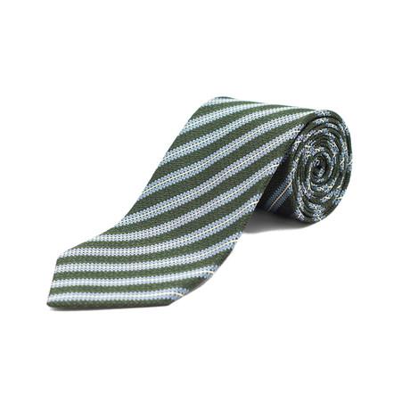 Ermenegildo Zegna // Silk Textured Striped Tie // Blue + Green