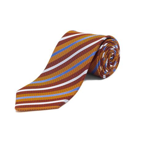 Ermenegildo Zegna // Silk Textured Striped Tie // Orange + Red
