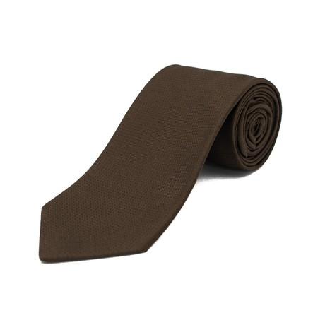 Ermenegildo Zegna // Silk Checkered Pattern Tie // Brown