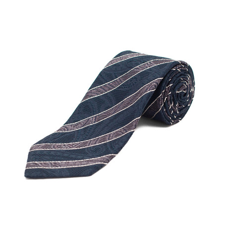 Silk Textured Striped Tie // Blue + Pink