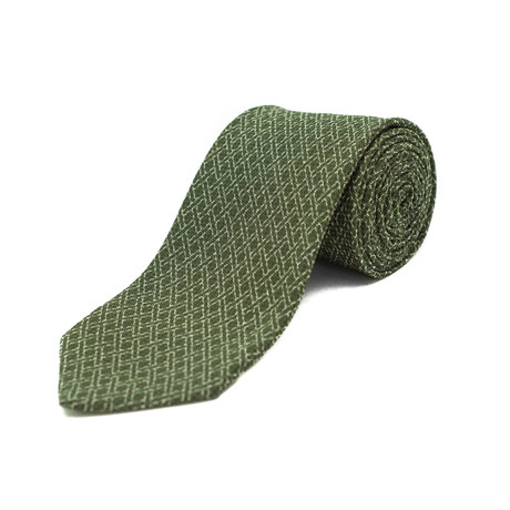 Silk Criss-Cross Patterned Tie // Green