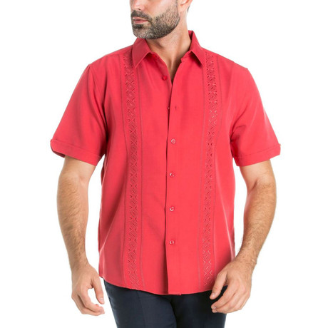 Geometric Linear Embroidery Short-Sleeve Button-Down // Rust (M)