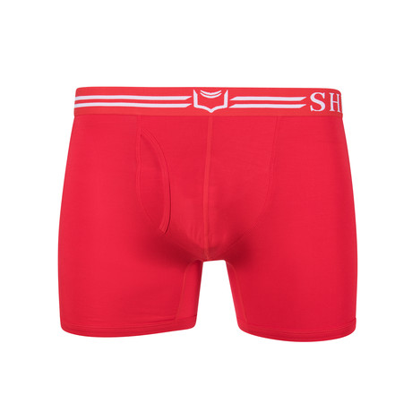 SHEATH 4.0 Men's Dual Pouch Boxer Brief // Red + White (S)