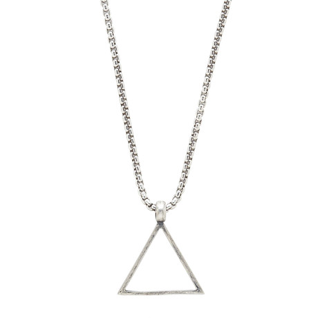 Sterling Triangle Necklace // Silver