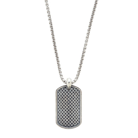 Sterling Dog Tag Necklace // Silver