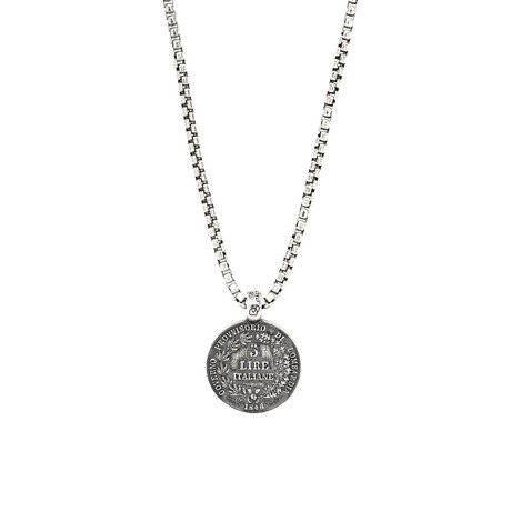 Sterling Italian Lire Necklace // Silver