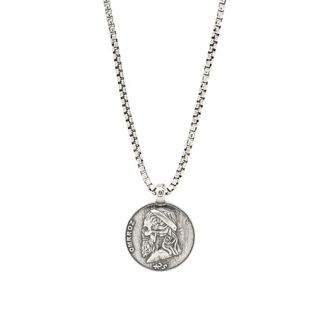Sterling Greek Skull Necklace // Silver